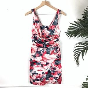 NEW Express Dress Womens 6 Floral Ruched